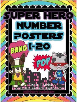 Super Hero Number Posters: Glittery Rainbow