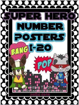 Super Hero Number Posters: Polka Dots