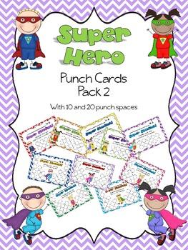 Superhero Punch Card Pack 2