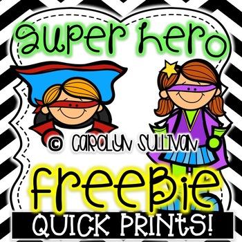 Super Hero Quick Prints: PREVIEW FREEBIE