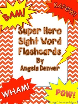Super Hero Sight Word Flashcards