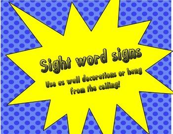 Super Hero Sight Words color