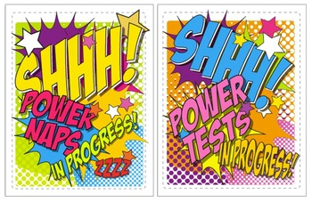 Free Super Hero Classroom Door Signs for Naps and Tests