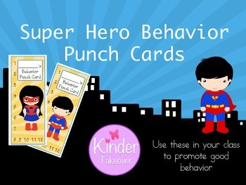 Super Hero Theme Behavior Punch Cards