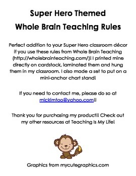 Super Hero Theme Whole Brain Teaching Rules