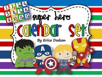Super Hero Themed Classroom Calendar Set {Bright Primary Stripes}