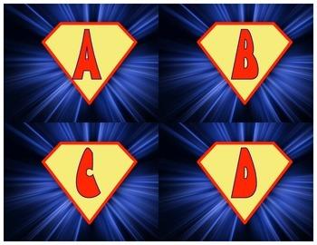 Super Hero Themed Response Cards