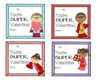 Super Hero Valentine's Day Cards