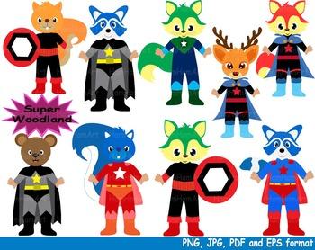 Super Hero Woodland Clip Art school halloween forest anima