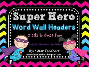 Super Hero Word Wall Headers {Bright Chevron on Black Background}