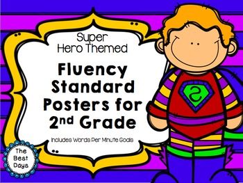 Super Hero Words Per Minute 2nd Grade Posters