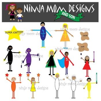 Super Hero and Ninja Clip Art- Kid Inspired and Drawn- Col
