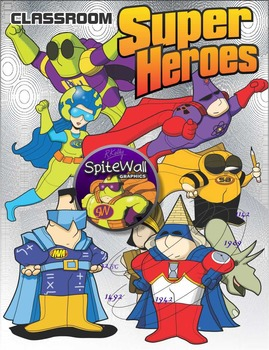 Super Hero clip art pack for classroom subject area activities