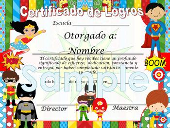 Super Heroes Achievement award English / Spanish version