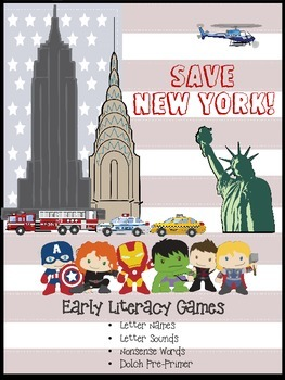 Early Literacy Game- Super Hero Theme
