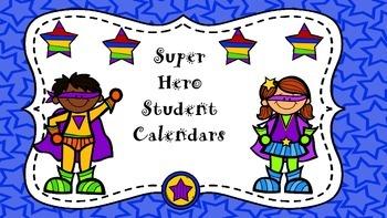 Student Calendars pdf. Super Hero Theme