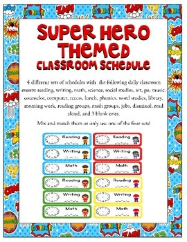 Super Heroes Themed Classroom Schedule