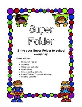 Homework Folder Super Hero Theme