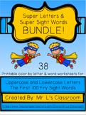 Super Letters & Super Sight Words: Color By Letter & Word