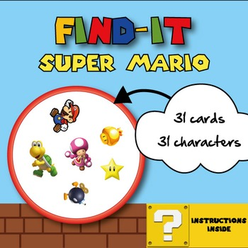 Super Mario Card Game (Spot it! | Find it! | Double | Dobl