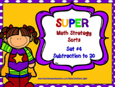 Super Math Strategy Sorts #4: Subtraction to 20