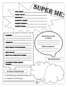 """Super Me"" sheet (All About Me)"