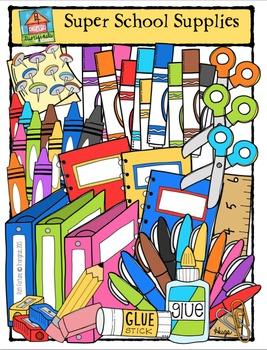 Super School Supplies {P4 Clips Trioriginals Digital Clip Art}