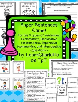 Super Sentence Game: Statements, Exclamations, Commands, Q