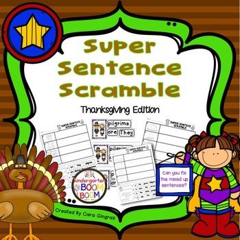 Sentence Order, Super Sentences - Thanksgiving