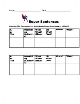 Super Sentence Worksheet/Template
