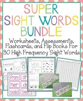 Super Sight Words Bundle: Worksheets, Assessments, Flashca