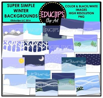 Super Simple Winter Backgrounds Clip Art Bundle