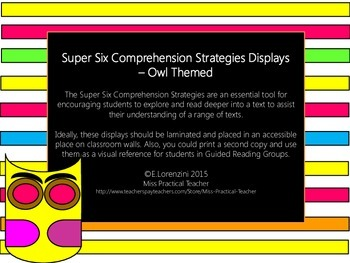 Super Six Comprehension Displays - Owl Themed