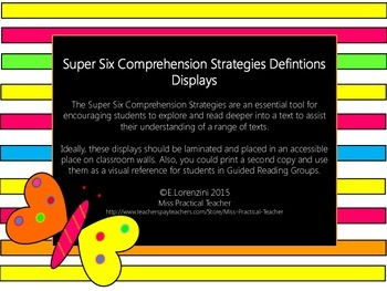 Super Six Comprehension Strategies Definitions Displays