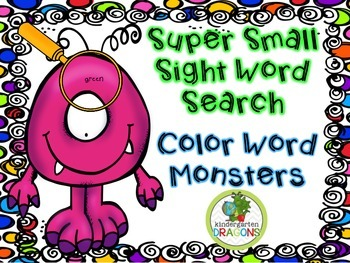 Super Small Sight Words: Color Word Monsters