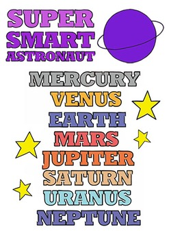 Super Smart Astronaut Poster with PLANETS ORDER