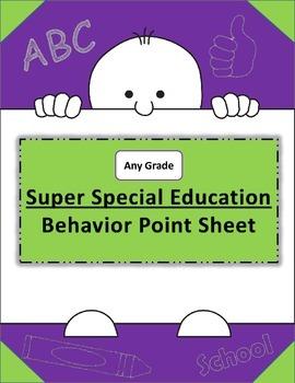 Super Special Education IEP Behavior Point Sheet