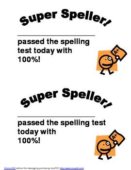 Super Speller Certificate