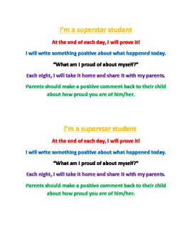 Super Star Student Daily Reflection