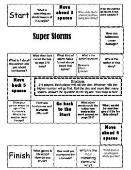 """""""Super Storms"""" 2nd grade Journeys comprehension game board"""