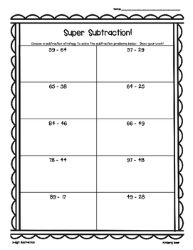 Super Subtraction! 2 and 3 digit subtraction--leveled prac