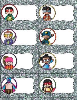 Super Superhero Labels- silver glitter