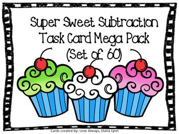 Super Sweet Subtraction Task Card Mega Pack (60 Task Cards)