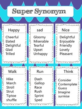 Super Synonyms Journal Sheets