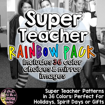Super Teacher Rainbow Colors Iron-on Pack: 36 Colors for y