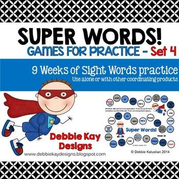 Super Words Games for Practice Set 4 (sight words practice)