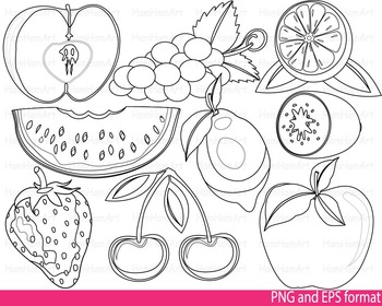 Super fruits Clip Art SCHOOL outline stamp coloring page l