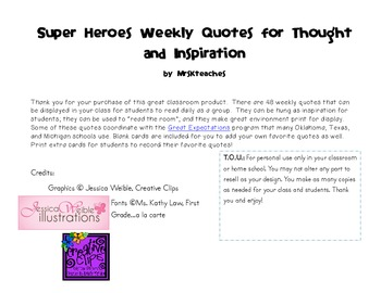 Character Building Quote of Week, Super Heroes theme