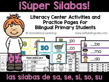 Súper sílabas – Spanish phonics activities for sa, se, si, so, su