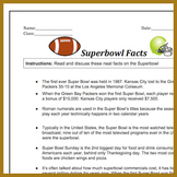 Superbowl Fun Facts Hand Out | Reading For Week Before Superbowl